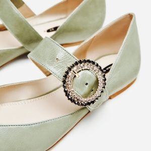 ZARA BEJEWELED LEATHER BALLERINA